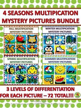 Fall, Winter, Spring, & Summer Multiplication Mystery Pict