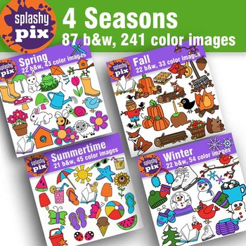 4 Seasons Clipart Bundle