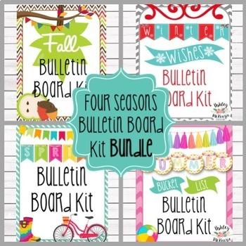 4 Seasons (Fall-Winter-Spring-Summer)  Bulletin Board Kit Bundle