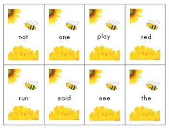 4 Seasons Flashcards and Games: Pre-Primer Sight Words