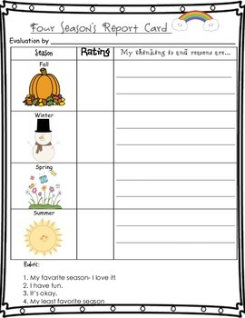 Critical Thinking 4 Seasons Report Card Opinion & Evaluate Freebie