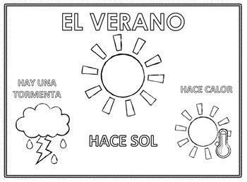 4 Seasons Spanish Color Pages Bundle