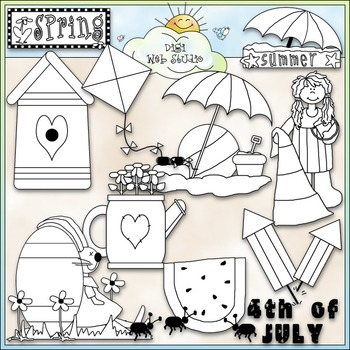 4 Seasons (Spring, Summer, Fall, Winter Clip Art) - CU Clip Art & B&W