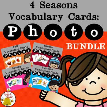 4 Seasons Vocabulary Cards Bundle: PHOTO
