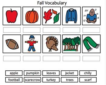 4 Seasons Vocabulary Matching Activity Bundle