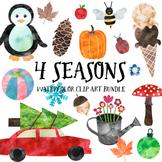 4 Seasons Watercolor Clip Art Bundle