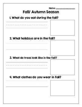 dcd5a66bebe 4 Seasons Worksheets with Questions about Fall