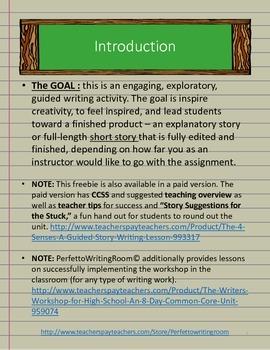 4 Senses - FREEBIE Guided Short Story Writing Activity