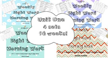 4 Sets Spelling Weekly Sheets