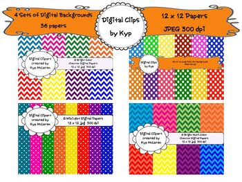 4 Sets of Brightly Colored Digi Backgrounds (for personal or commercial use)