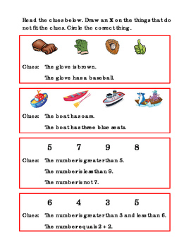 4 Sets of Clues 1page Read Clues Reading Journal Supplement Clue Pictures ELA