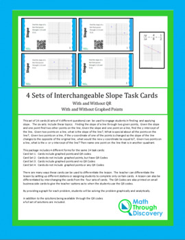 4 Sets of Interchangeable Slope Task Cards