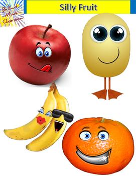 4 Silly Color Fruit Clipart Graphics: Apple, Orange, Banana, Melon