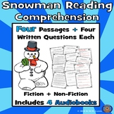 4 Snow Reading Comprehension Passages: Snowman Paired Text + Fun Audiobooks