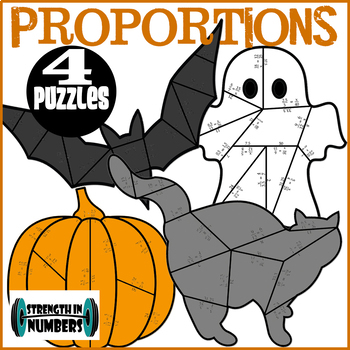 Solving Proportions 4 Halloween Cooperative Puzzles to make Bulletin Board
