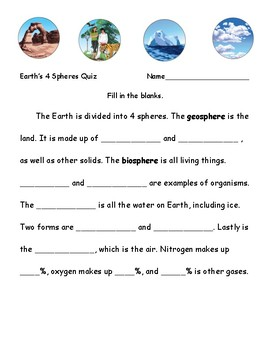 4 Spheres Of Earth Quiz Song Too By Summit Heights Tpt