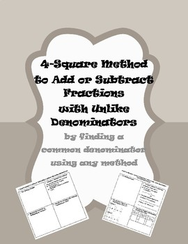 4-Square Method for Adding/Subtracting Fractions with Unlike Denominators