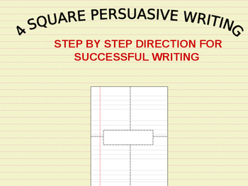4-Square Persuasive Writing: Clear  Direction for Students(Backpack searches)