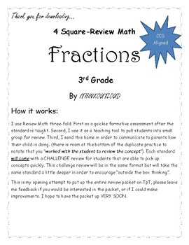 4 Square- Review Math FRACTIONS for 3rd Grade