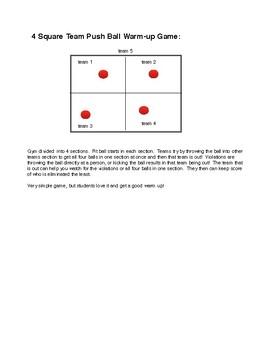 4 Square Team Push Ball Warm-up