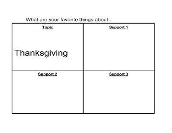 4 Square Thanksgiving Writing Organizer