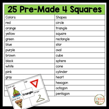 4 Square Writing: Colors and Shapes