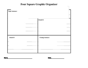 4 Square Writing: Graphic Organizer