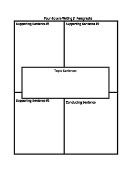 4 square writing template by writers paradise teachers pay teachers