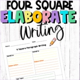 4 Square Writing Template Color Coded (Elaborate)