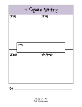 4-Square Organizer: Writing Template Packet