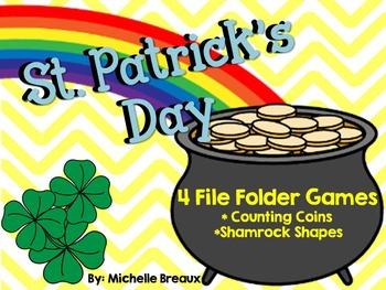 4 St. Patrick's Day File Folder Games: time, shapes, color