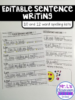 4-Star Sentence Writing - Editable!