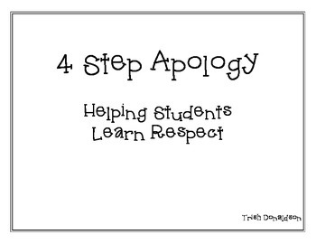 4 Step Apology:  Helping Students Learn Respect