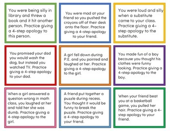 4-Step Apology Task Cards