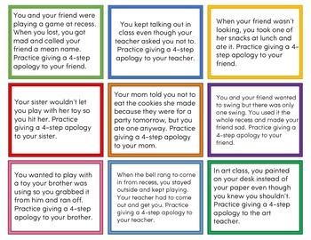4-Step Apology Task Cards