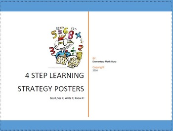 4 Step Learning Posters Strategy Set With Graphic Organizer Template