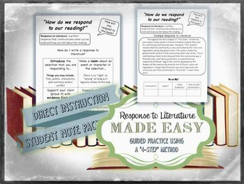 4-Step Response to Literature- Citing Evidence, CCSS Aligned, No Prep, Printable