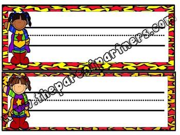 4 Superhero Multi-Cultural Editable Name Tags