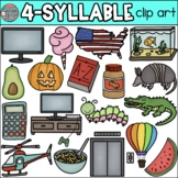 4 Syllable Words Clip Art • Speech Therapy/Phonics • SpeakEazySLP