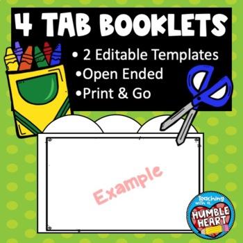 4 Tab Book Template: Editable!