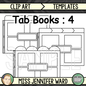 4 Tab Book with Boxes Clipart