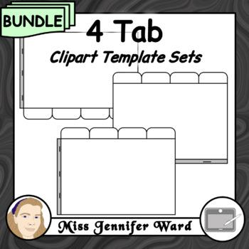 4 Tabs : Book Clipart Sets : BUNDLE
