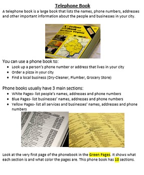 4 Telephone Book Scavenger Hunts for Special Education or Elementary