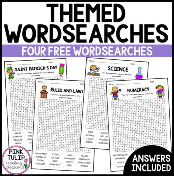 4 Themed Word Searches with Detailed Answers