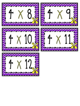 """4"" Times Table Flash Cards"