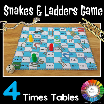 4 Times Tables Snakes and Ladders Game