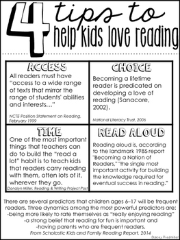 4 Tips: Help Kids Love Reading Handout