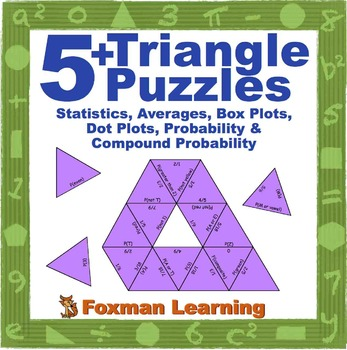 5 Triangle Puzzles for Middle School Statistics & Probability Math CCSS