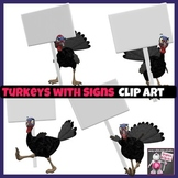 4 Turkeys with Signs Clip Art  Images in Color & Black and White