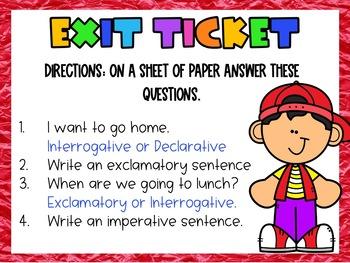 4 Types of Sentences 4 Corners